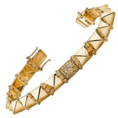 Anita Ko Yellow Gold Medium Spike Bracelet with One Diamond Spike