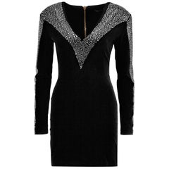 Balmain Crystal Embellished Velvet Mini Dress