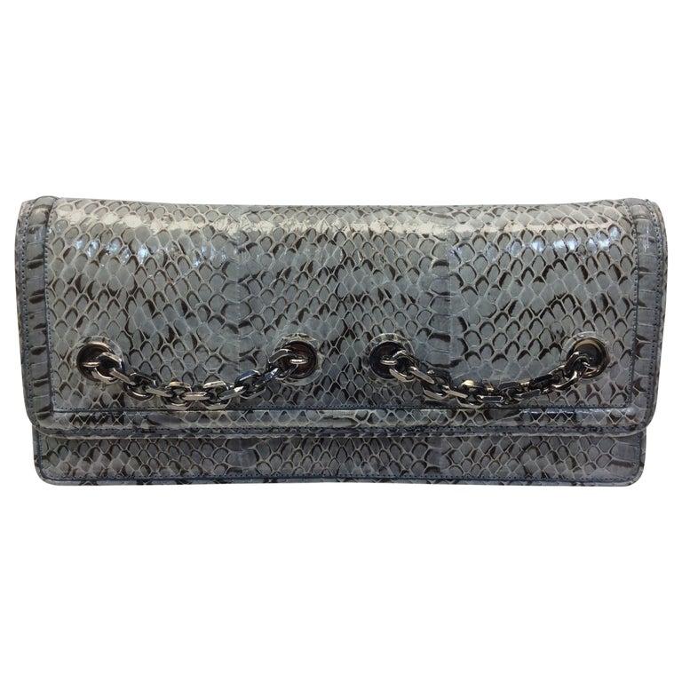 Judith Leiber Grey Snake Skin Clutch NWT For Sale