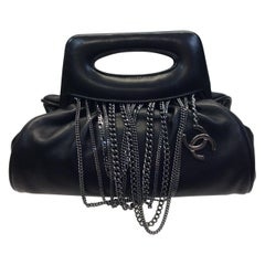 Chanel Black Leather Handbag with Silver Chains