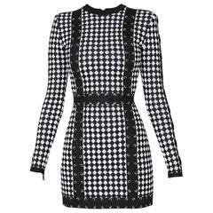 Balmain Checkered Stretch-Knit Mini Dress