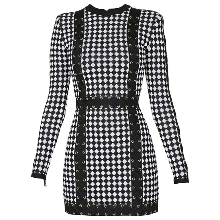 6739990101ba Balmain Checkered Stretch-Knit Mini Dress For Sale at 1stdibs