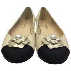 Chanel Tan and Black Flower Ballet Flats