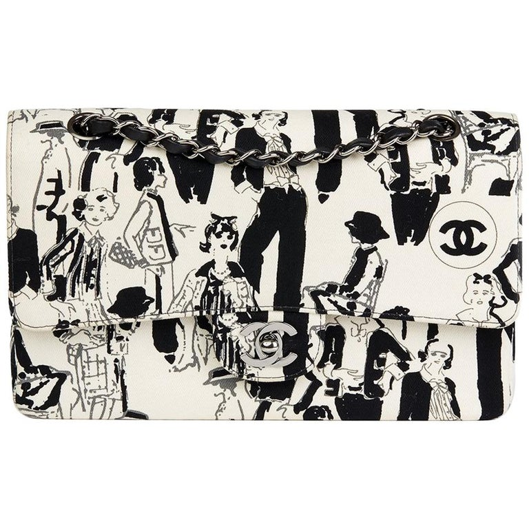 1ff3a1f7bbc5 Chanel Black   White Karl Lagerfeld Sketches Medium Classic Double Flap Bag  For Sale