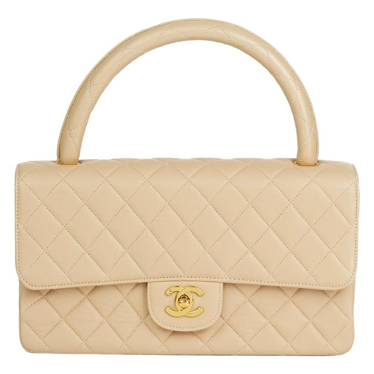 2a59e37c567a Chanel Beige Quilted Lambskin Vintage Medium Classic Kelly Flap Bag at  1stdibs