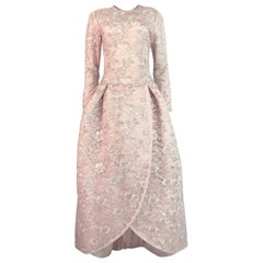 F/W 1994 Nina Ricci Haute Couture Silver Cord & Hand Made Pink Lace Dress