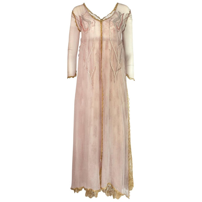 c.1977 Bill Gibb Couture Gold Lace Dress & Embroidered Evening Jacket Set