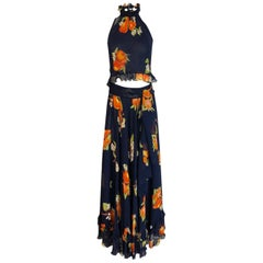 1970s Valentino Tomato Print Halter, Maxi Skirt, Sash & Shawl Dress Set
