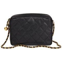 1994 Chanel Chanel Black Quilted Caviar Leather Vintage Camera Bag