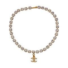 Vintage Chanel Crystal Necklace  Cc Logo Gold Choker Charm Rhinestone  Mint