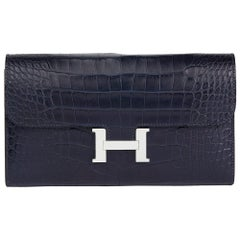 2018 Blue Nuit Matte Mississippiensis Alligator Leather Constance Long Wallet