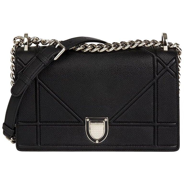 5e9443b3c7 2015 Christian Dior Black Grained Calfskin Leather Small Diorama Flap Bag
