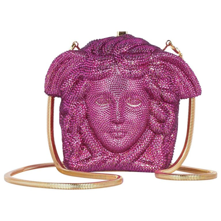 704d26299271 VERSACE Medusa pink magenta crystal-embellished shoulder bag clutch For  Sale at 1stdibs