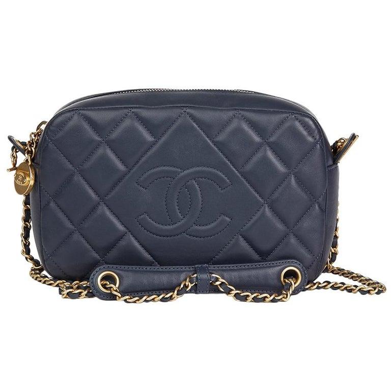 d4805566415f 2014 Chanel Dark Blue Quilted Lambskin Diamond CC Camera Bag at 1stdibs