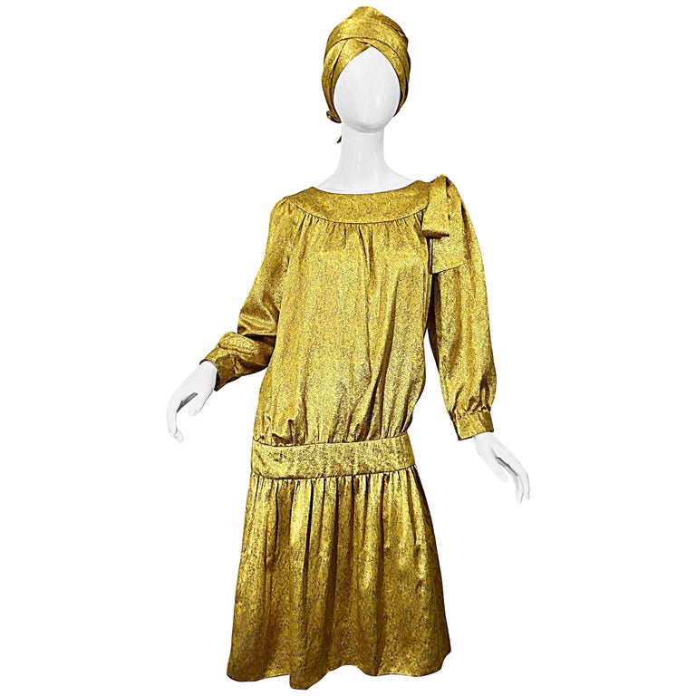 Vintage Brioni Yellow + Gold Silk 1920s Style Drop Waist Dress + Turban Sash For Sale