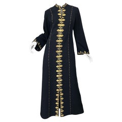 1970s Moroccan Black + Gold Metal Embroidered Vintage 70s Caftan Maxi Dress