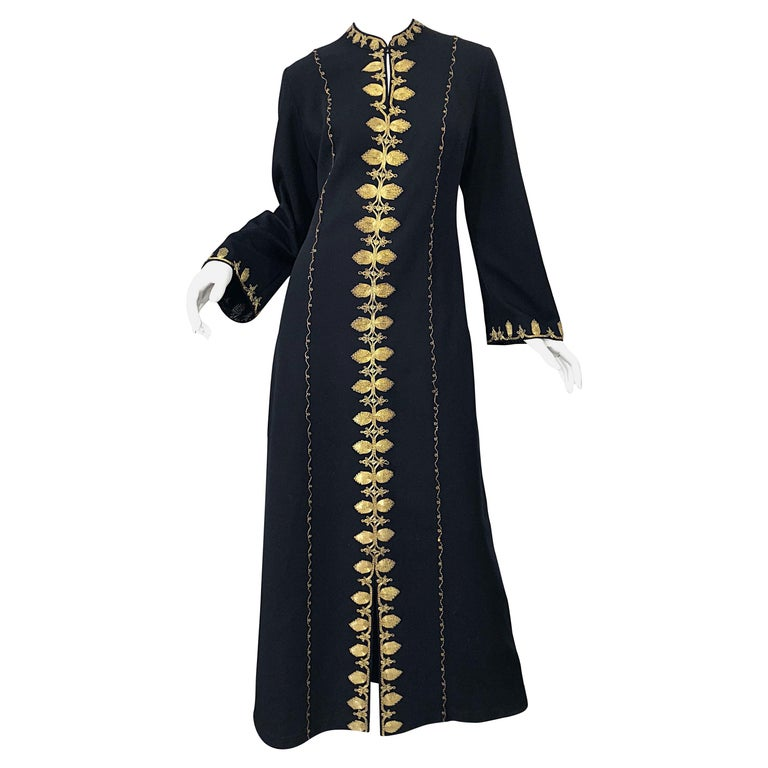 1970s Moroccan Black + Gold Metal Embroidered Vintage 70s Caftan Maxi Dress For Sale