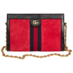 2018 Gucci Red Suede & Black Patent Leather Small Ophidia Bag