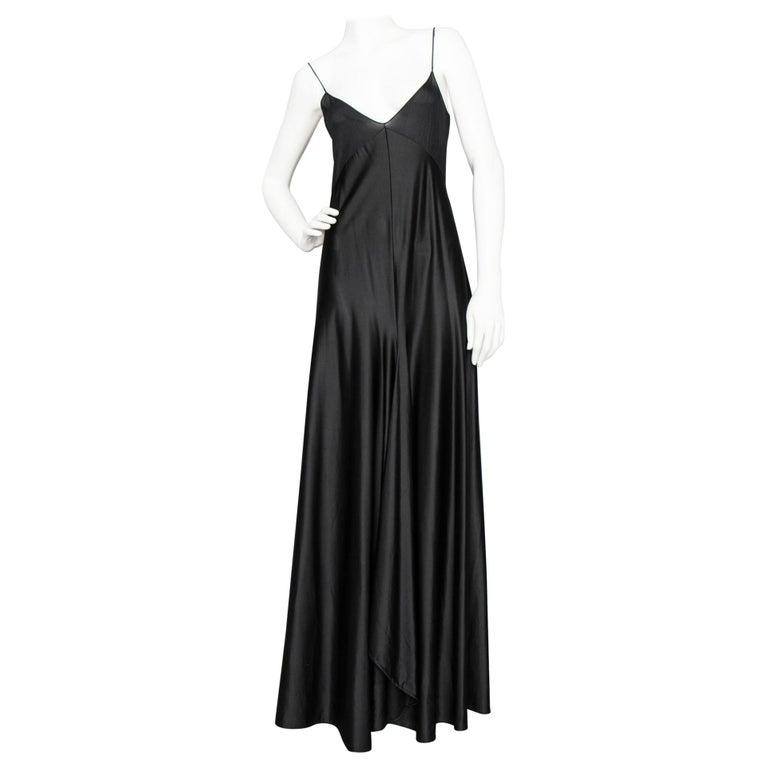 A 1990s Vintage Halston Black Silk Slip Dress S For Sale