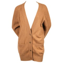 1980's CHANEL tan camel hair cardigan with gilt buttons