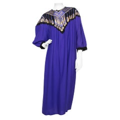 A 1970s Vintage Zandra Rhodes Purple Wool Dress With Leather Details