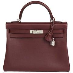 2018 Hermès Bordeaux Evercolour Leather Kelly 32cm Retourne