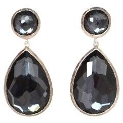 Ippolita Black Onyx Faceted Gemstone Antiqued Silver Tear Drop Snowman Earrings
