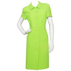 A 1990s Vintage Istante By Versace Electric Green Wool Dress S
