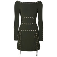 Elie Saab Eyelet-Embellished Stretch-Knit Mini Dress