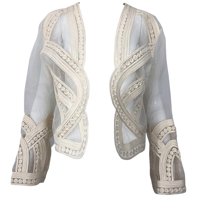 ec555fec4858d Rare Matsuda 1990s Ivory Sheer Off White Embroidered Vintage 90s Jacket  Bolero For Sale