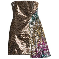 Halpern Sequin Embellished Strapless Dress