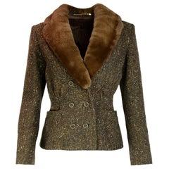 Blumarine Brown Tweed Double Breasted Jacket W/ Sheared Mink Collar Sz 42