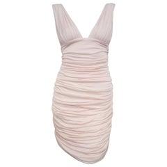 Va Va Voom Balmain Pink V Neck Gathered Bodycon Dress