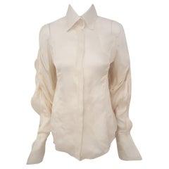 Gianfranco Ferre Silk Organza Ivory Gathered Long Sleeve Top