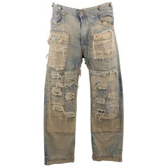 LEVI'S VINTAGE 34 Light Dirty Wash Distressed Selvedge Denim Patchwork Jeans