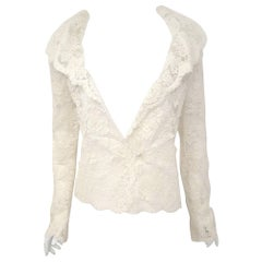Valentino Ivory Cotton Cord Lace Jacket With Scalloped Edges