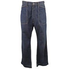 RRL by RALPH LAUREN Size 33 Navy Dirty Washed Denim Contrast Stitch Work Jeans