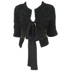 Somper Furs Persian Lamb Fur W/ Sequins Around Bust & Cuffs