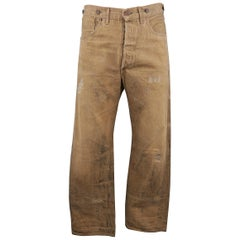 RRL by RALPH LAUREN Size 33 Tan Distressed Dirty Wash Selvedge Denim Jeans