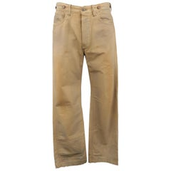 RRL by RALPH LAUREN Size 32 Khaki Dirty Wash Distressed Cotton Denim Jeans