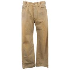 RRL by RALPH LAUREN Size 32 Khaki Dirty Wash Distressed Cotton Denim Jeans