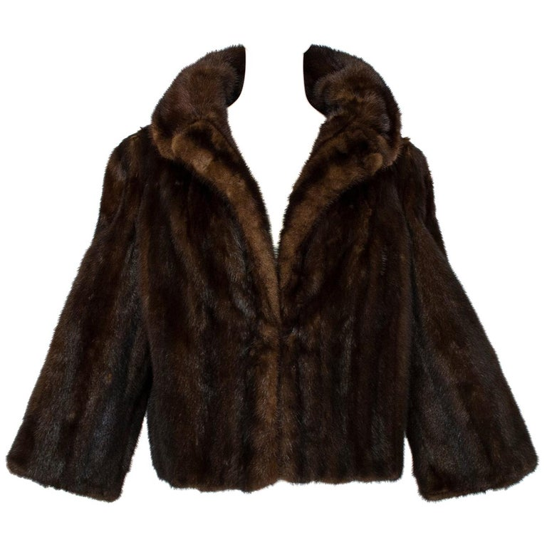 Mahogany Mink Chubby Fur Jacket with Oversize Collar, 1956 For Sale