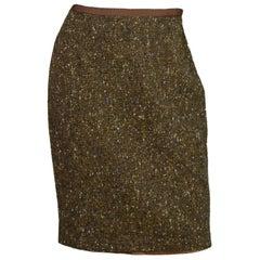 Blumarine Brown Tweed Pencil Skirt Sz 44