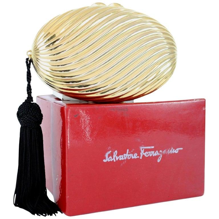 Salvatore Ferragamo Evening Bag Clutch Jewel Pochette Vintage Gold For Sale