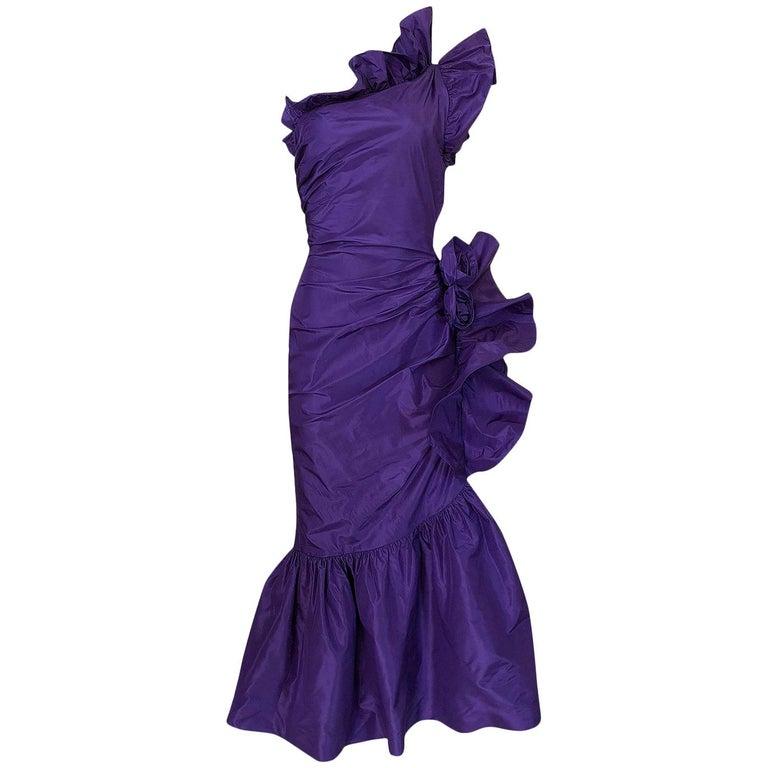 Spring 1982 Unlabeled Givenchy One Shoulder Purple Silk Dress For Sale
