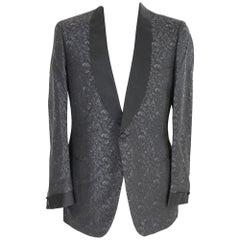 1990s Brioni Black Vintage Silk Tuxedo Damask Polished Jacket