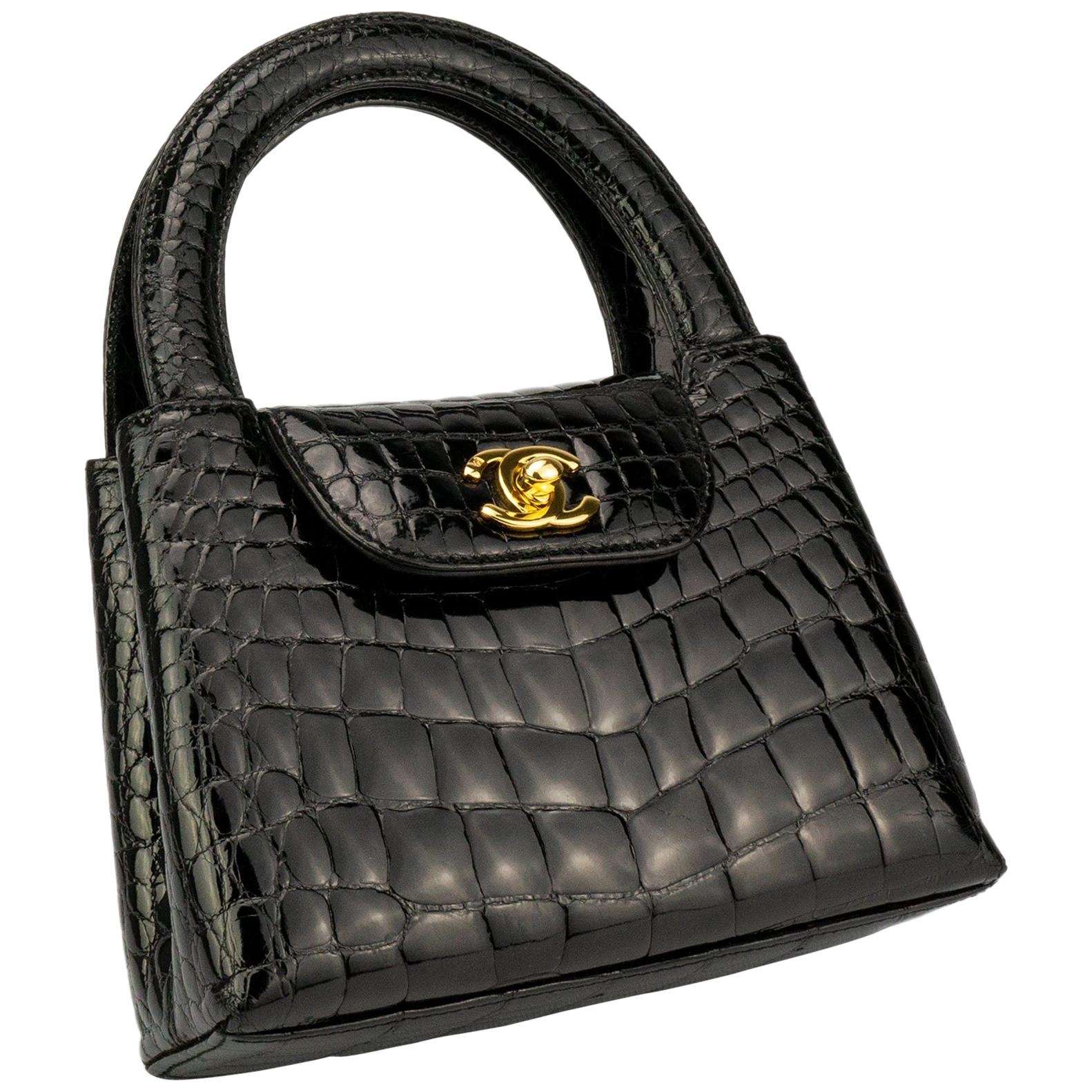 Chanel Black Crocodile Vintage Mini Teeny Tiny Kelly Clutch Alligator Tote Bag