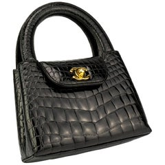 Chanel Black Crocodile Vintage Mini Teeny Tiny Kelly Clutch Alligator Tote Bag