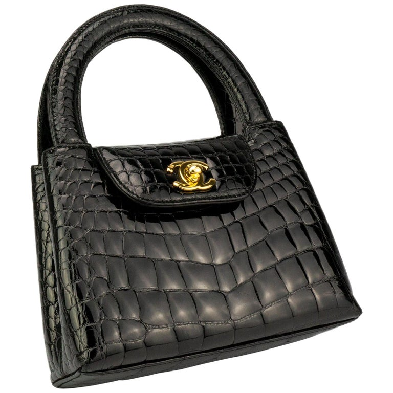 dbf01796f589 Chanel Black Crocodile Vintage Mini Teeny Tiny Kelly Clutch Alligator Tote  Bag For Sale. Black Chanel Crocodile mini top handle ...