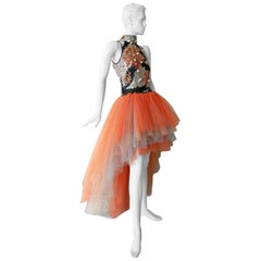 "Valentino ""WOW"" Branch Coral Shell Beaded Hi Low Tulle Evening Dress Gown"